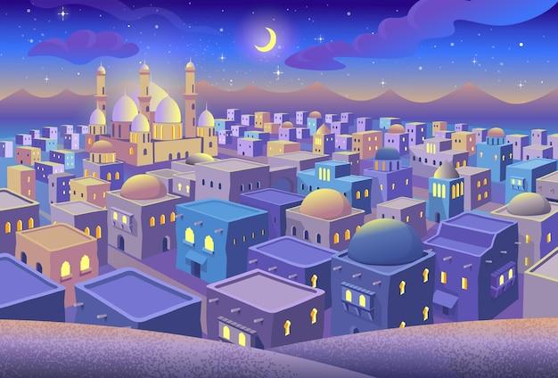 만화 스타일의 밤 푸른 도시 주택과 모스크와 고대 아랍 도시의 파노라마