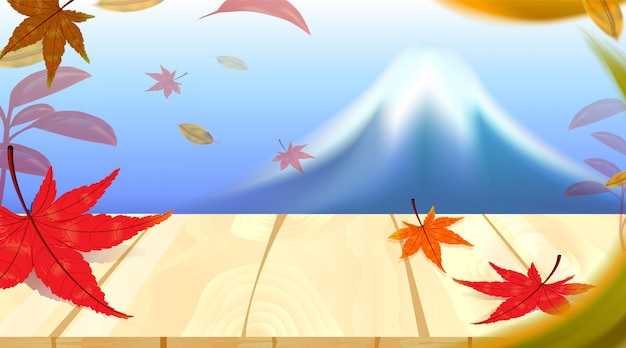 日本の世界の有名なランドマーク、旅行の概念で富士山と紅葉の赤いカエデのパノラマ
