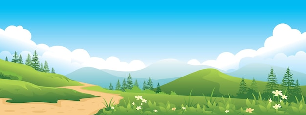 夏の風景のパノラマ