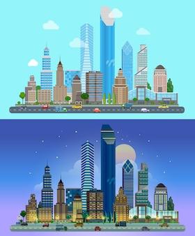 도시의 고층 빌딩의 파노라마 배경 낮 밤의 하늘