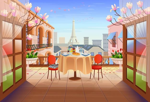 開いたドア、テーブル、椅子、古い家、塔、花とパノラマパリの通り。漫画スタイルの街の街並みのイラスト付きのテラスに出ます。