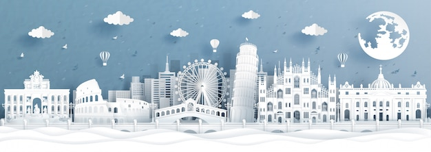 Panorama postcard landmarks of italy
