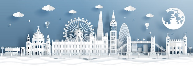 Panorama postcard and travel poster of world famous landmarks of london, england in paper cut style