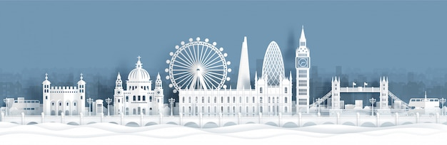 Panorama postcard and travel poster of world famous landmarks of london, england