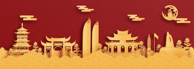 Panorama postcard and travel poster of world famous landmarks of xiamen, china in red and gold paper cut