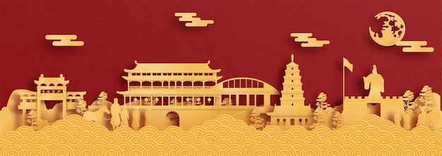 Panorama postcard and travel poster of world famous landmarks of xian, china in red and gold paper cut