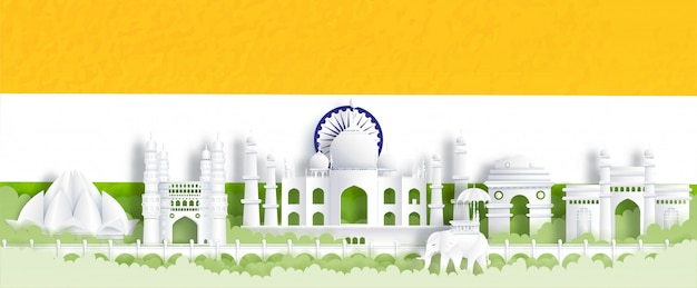 Panorama postcard of world famous landmarks of india with india flag, green and orange