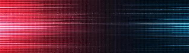 파노라마 빨강 및 파랑 속도 빛 기술 배경, 하이테크 디지털 및 음파 개념 디자인, 텍스트를 위한 여유 공간, 벡터 일러스트 레이 션.
