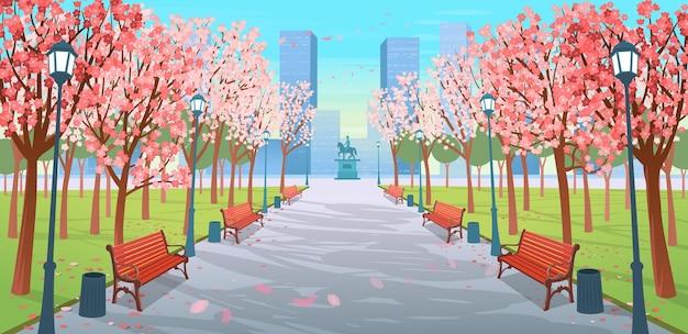 ベンチ、花の木、ランタン、記念碑がある春の公園のパノラマロード。漫画風の春の街の通りのベクトルイラスト。