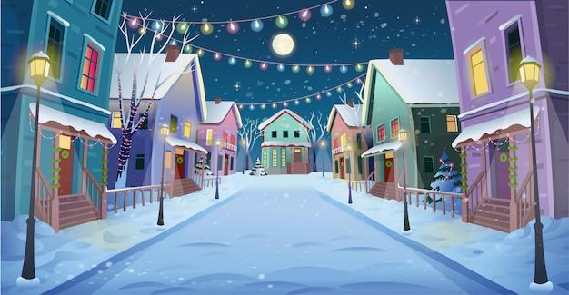 Панорама дороги по улице с фонарями и гирляндой. векторная иллюстрация зимней городской улицы в мультяшном стиле.