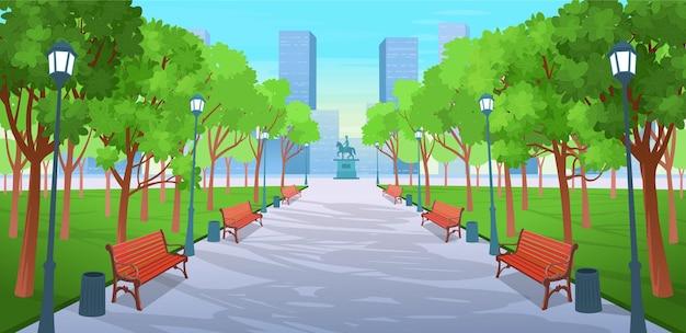ベンチ、木、ランタン、記念碑があるサマーパークのパノラマロード。漫画のスタイルで夏の街の通りのベクトルイラスト。