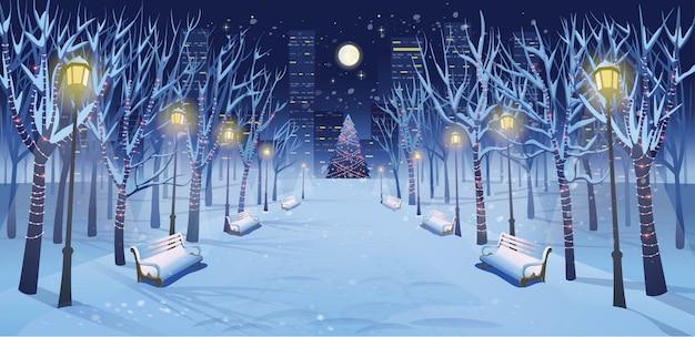 冬の公園のベンチ、木、ランタン、花輪の夜のパノラマロード。漫画のスタイルで冬の街のベクターイラストです。