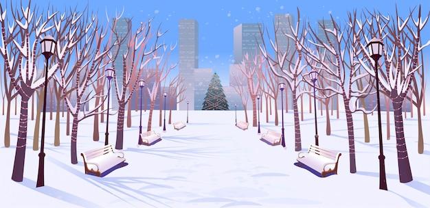 ベンチ、木、ランタン、ガーランドの日光が差し込む冬の公園のパノラマ道路。漫画のスタイルで冬の街のベクターイラストです。