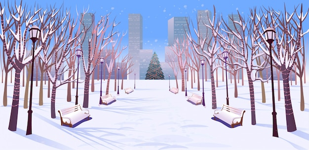 Panorama road over the winter park with benches, trees, lanterns and a garland day light. vector illustration of winter city street in cartoon style.