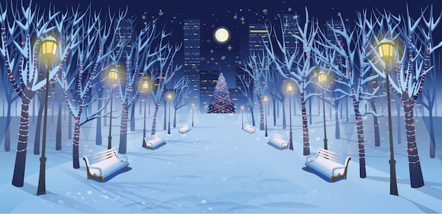 Panorama road over the winter park with benches, trees, lanterns and a garland at night. vector illustration of winter city street in cartoon style.