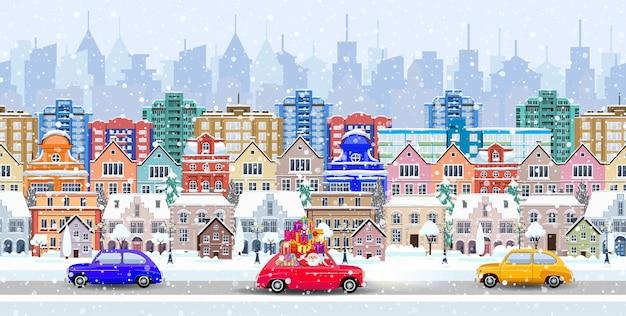 Панорама. бесшовная граница с зимним городским пейзажем