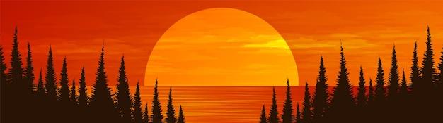 松林、風景の背景に川とパノラマ太陽。