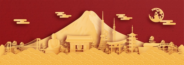 Panorama of tokyo, japan in paper cut style