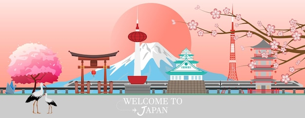 Panorama travel postcard, tour advertising of japan. vector illustration.