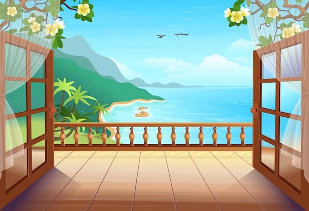 열린 문, 야자수, 바다와 해변이있는 파노라마 열대 섬. 열대 섬의 전망을 감상 할 수있는 테라스로 나가십시오. 삽화.
