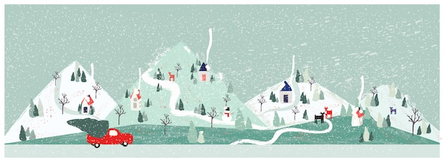 Panorama vector illustration of urban city landscape in winter with pick up truck carrying christmas tree. minimal xmas winter landscape.