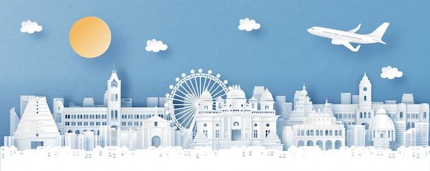 Panorama view of chennai, india with temple and city skyline with world famous landmarks in paper cut style illustration