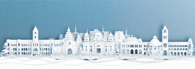 Panorama view of chennai skyline with world famous landmarks of india in paper cut style illustration.