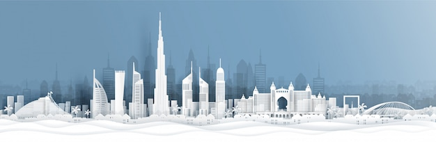 Panorama view of dubai and city skyline with world famous landmarks in paper cut style