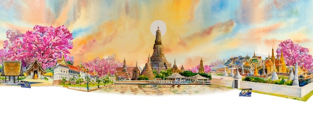 Panorama view famous landmarks bangkok and chiang mai in thailand.