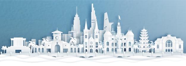 Панорама города хошимин, вьетнам - линия горизонта со всемирно известными достопримечательностями индонезии в векторной иллюстрации стиля вырезки из бумаги.