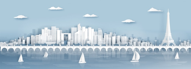 Панорамный вид на париж, франция, горизонт с всемирно известными достопримечательностями