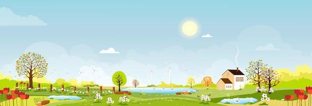 春の村のパノラマビュー、丘の上の緑の牧草地、青い空と太陽、ベクトル漫画春または夏の風景、池で泳いでいる家族のアヒルと農地のパノラマの田園風景。