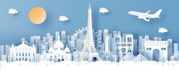 Panorama view of paris, france and city skyline with world famous landmarks