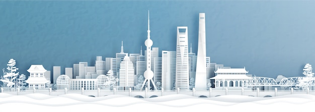 Panorama view of shanghai, china city skyline s in paper cut style vector illustration.