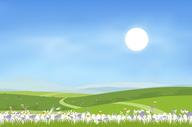 Panorama view of spring village with green meadow on hills and blue sky, vector cartoon spring or summer landscape, panoramic sunny day in countryside with mountains and wild flowers fields