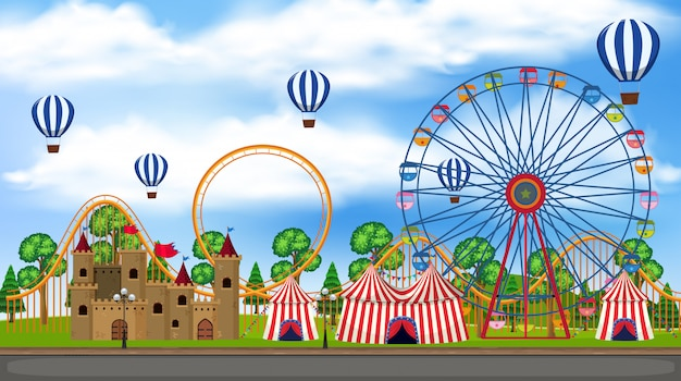 A panorama view of theme park