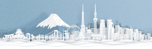 Panorama view of tokyo city skyline with world famous landmarks