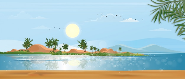 Panorama view tropical seascape of blue ocean and coconut palm tree on island, panoramic sea beach and sand with blue sky, illustration flat style nature of landscape seaside for summer holiday