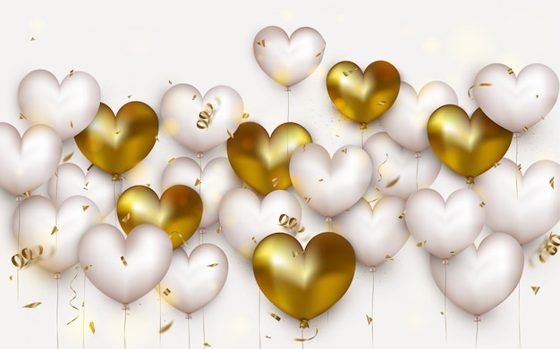 Panorama view.valentines day concept.horizontal banner with air gold and white balloons for 14th of february.