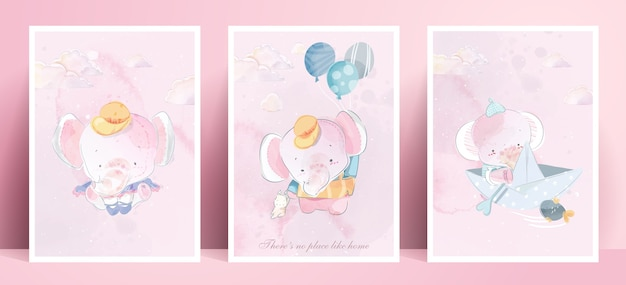 Panorama watercolor painting lifestyle daily life elephant in human gestures romantic illustration in pastel color tone.