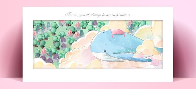 Панорама акварельной живописи образа жизни повседневная жизнь кита в человеческих жестах романтическая иллюстрация в пастельных тонах.