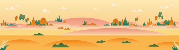 미니멀 스타일의 파노라마 가을 풍경.