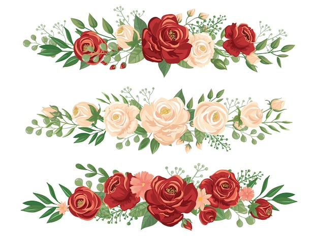Panoramic flowers borders. rose bud, flower border and roses header panorama floral banner vector illustration