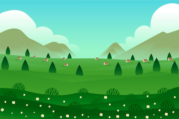 Panoramic houses and trees spring landscape