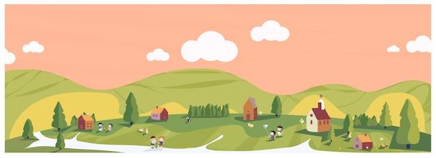 녹색과 지구 톤에서 최소한의 봄 여름의 파노라마 그림