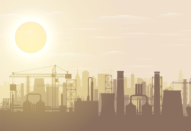 パノラマの産業シルエットの風景。工場のパイプを吸う。植物のパイプ、太陽と空。二酸化炭素の排出。環境汚染。環境co2の汚染。ベクトルイラスト