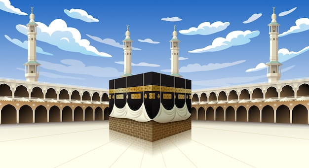 Panoramic of kaaba for hajj steps in al-haram mosque mecca saudi arabia, illustration on blue sky with clouds - eid adha mubarak