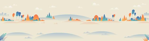 미니멀 스타일의 파노라마 풍경.