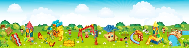 Panoramic playground on the meadow. .