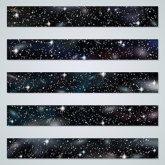 Panoramic space background vector collection